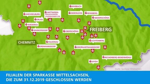 Karte Schließungen Sparkasse Mittelsachsen