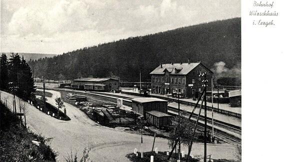 Blick auf den Bahnhof Willlzschhaus im Jahr 1935.