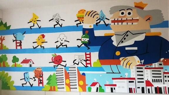 Auf einer Wand gemalte bunte Figuren.