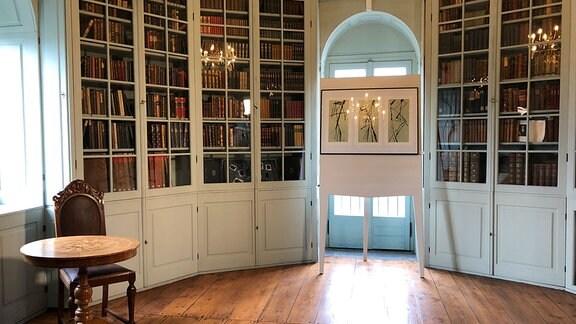 Ein einem Halbrund sind bis zur Decke langgezogene Bücherwandschränke mit Glastüren zu sehen. In der Mitte sind die Schränke von einer Balkontür unterbrochen. Vor der Tür steht ein Aufsteller, auf dem wiederrum ein Bilderrahmen anlehnt. An einem Fenster links steht ein kleiner Tisch und ein Stuhl. Die lackierten Fußbodendielen reflektieren das durch die Balkontür hereinfallende Sonnenlicht.