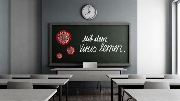 ein Klassenzimmer, Blick zu einer Tafel auf der Viren gemalt sind und ein Text