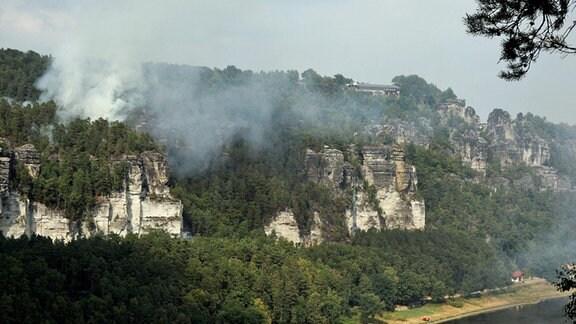 Brand im Nationalpark Sächsische Schweiz