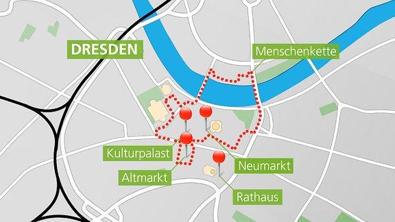 Menschenkette und Versammlungen zum 13.Februar in Dresden