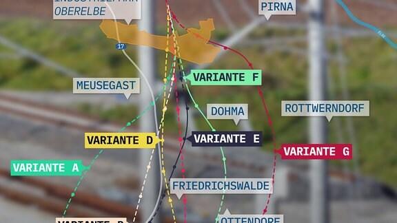 Karte der Neubaustrecke Dresden - Prag in verschiedenen Varianten