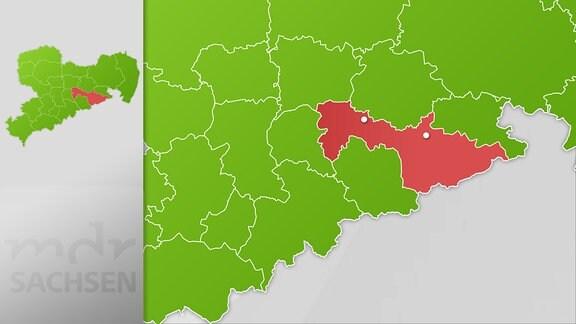 Karte Region Freital und Pirna
