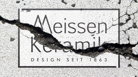 Grafik: Ein Riss geht durch den  Schriftzug «Meissen Keramik».