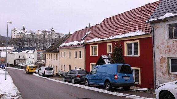 Straßenzug in Nossen, in einem der Häuser spielten sich schreckliche Szenen ab.