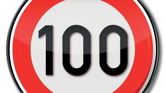 Verkehrsschild für Geschwindigkeitsbegrenzung auf 100 km/h.