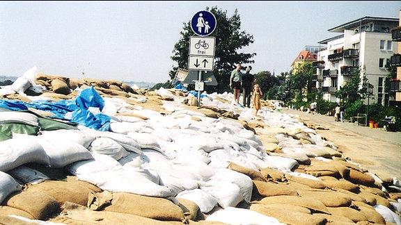 Sandsäcke schützen das Elbufer in Pieschen.