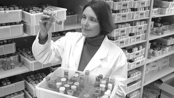 Biologin Suzanne Eaton (USA) schaut auf ein Röhrchen im Labor.
