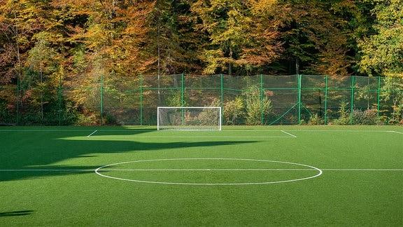 Fußballplatz im Herbst