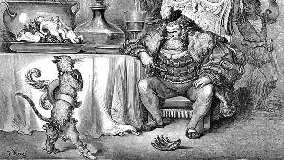 Der gestiefelte Kater, König mit Bart und Diener mit köstlichen Speisen in Schloss, Illustration aus Perraults Märchen, von Charles Perrault, illustriert von Gustave Dore Kultur Objekte Reproduktion, 1862.