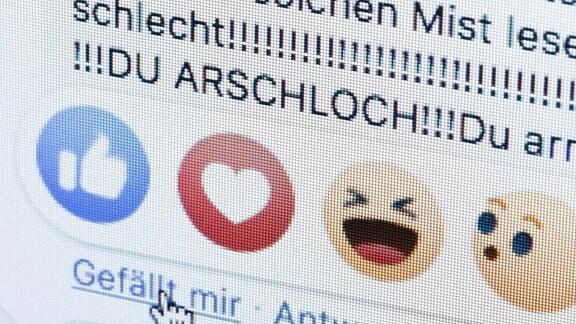 Neben dem Gefällt mir Button von facebook sind die Worte Du Arschloch zu sehen.