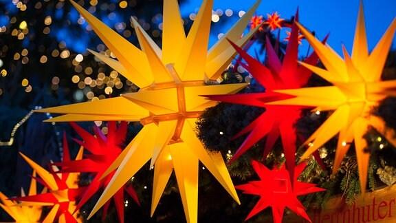 Striezelmarkt Dresden. Herrnhuter Weihnachtssterne werden an einem Verkaufsstand angeboten - sterne in gelb und rot, Nah
