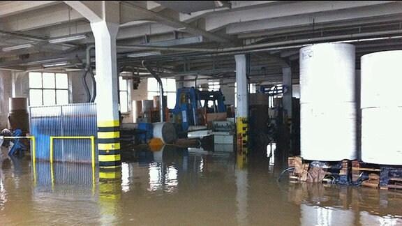 Hochwasser in der Papierfabrik Golzern