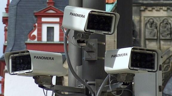Drei Kameras in Chemnitz für die Videoüberwachung.