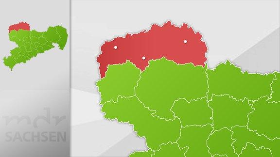 Karte Region Delitzsch, Eilenburg und Torgau