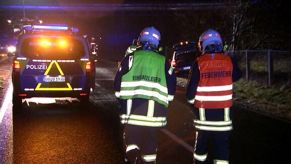 Rettungskräfte am Einsatzort.