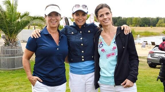 Katarina Witt, Gerit Kling und Franziska Schenk beim 11. Charity Golf Turnier, Leipzig