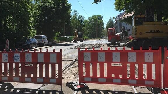 Ein gesperrter Straßenabschnitt