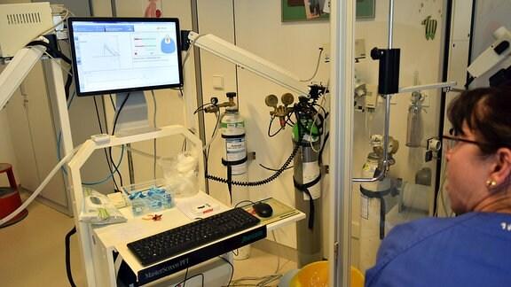 eine Frau im blauen Oberteil schaut zu einem Bildschirm