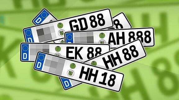 Verschiedene Kennzeichen mit den Buchstaben-und Ziffernkombinationen HH-88 oder AH-18.