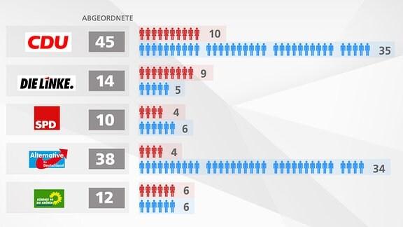Grafik zum Frauenanteil im Sächsischen Landtag