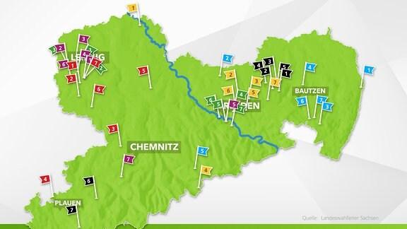 Karte Zweitsteimmen Gemeinden Landtagswahl Sachsen