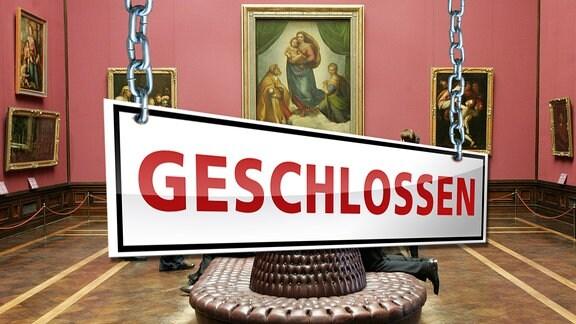 Ein Geschlossen-Schild in einer Gemäldegalerie