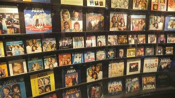 ABBA-Langspielplatten im ABBA-Museum.