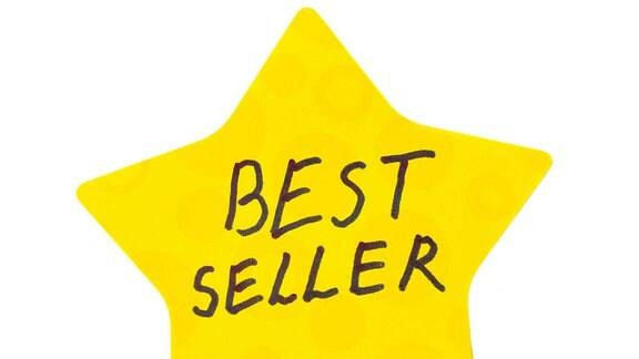 """Ein gelber Stern, in dem das Wort """"Bestseller"""" steht."""