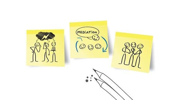 Illustration mit drei Klebezetteln und zwei Bleistiften