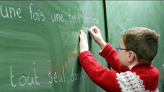 Ein Junge schreibt französiche Worte an die Tafel
