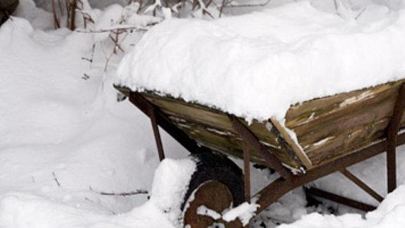Eine Schubkarre steht verschneit im Garten.