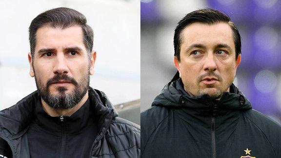 Trainer Cristian Fiel und Aue-Trainer Daniel Meyer