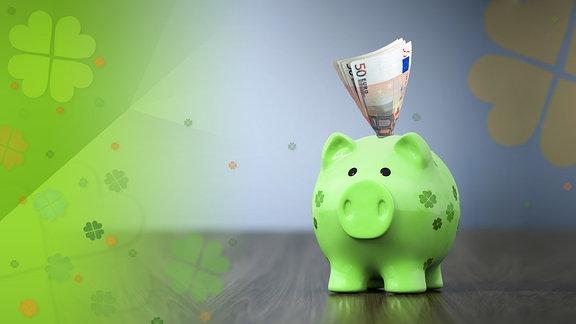 Glücksschwein mit geld