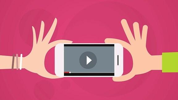 Ein Handy wird von zwei Händen gehalten.