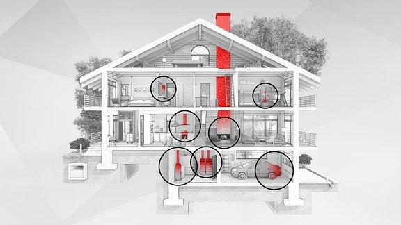 Grafik Kohlenmonoxid-Austritt im Haus