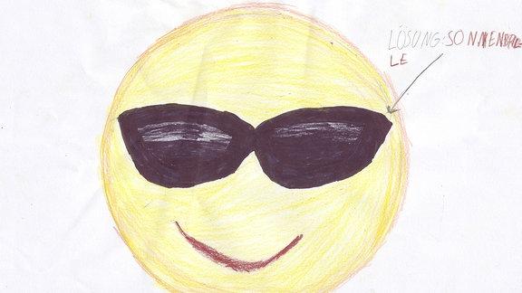 Ein Bild gemalt von Otto: ein Smiley mit Sonnenbrille.