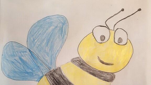 Ein Bild gemalt von Henry: eine Biene.