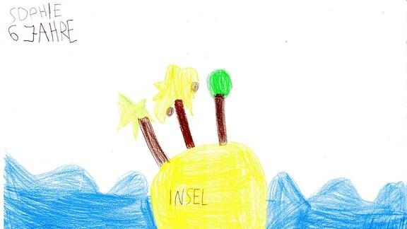 Ein Bild gemalt von Sophie: eine Insel.