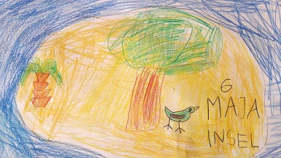 Ein Bild gemalt von Maja: eine Insel.