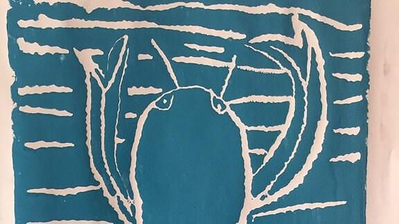 Ein Bild gemalt von Frederik: ein Krebs.