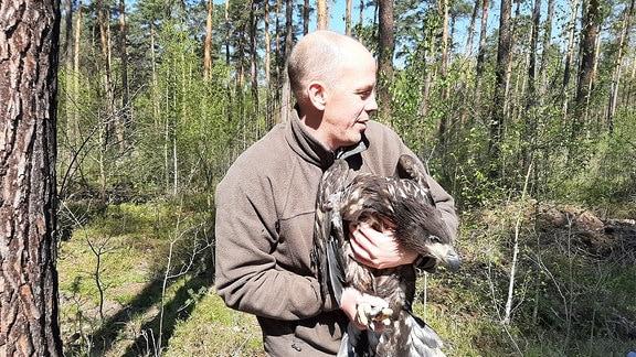 Ein Mann hält einen Seeadler in den Armen.
