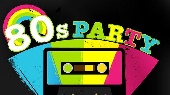 ein animierte Bild mit einem Regenbogen auf schwarzem Hintergrund, einer Zeichnung einer Kassette und der Schriftzug 80s Party