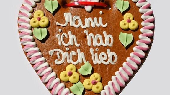 Pfefferkuchenherz mit dem Text Mami ich hab dich lieb