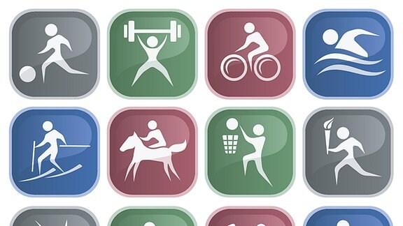Piktogramme verschiedener Sportarten
