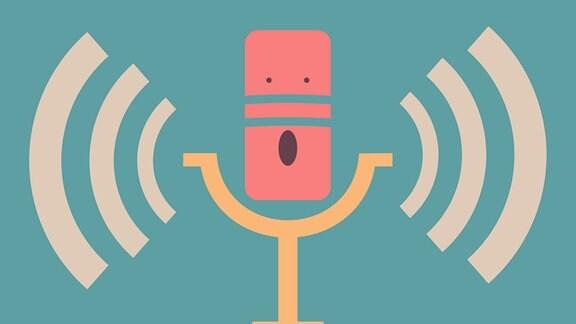 Gezeichnetes Mikrofon in Retrooptik.