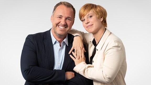Silvio Zschage und Elena Pelzer, die Sachsenradio-Morgenmoderatoren