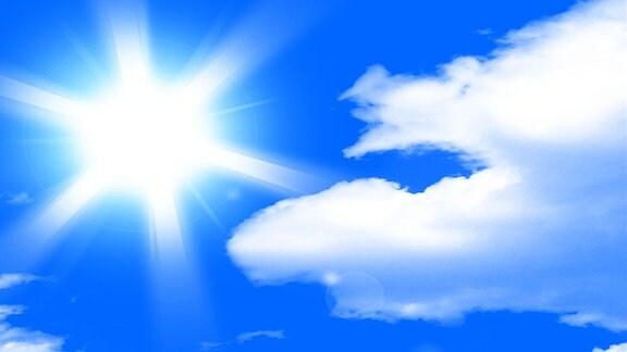 Ein Sonniger Himmel mit Wolken.